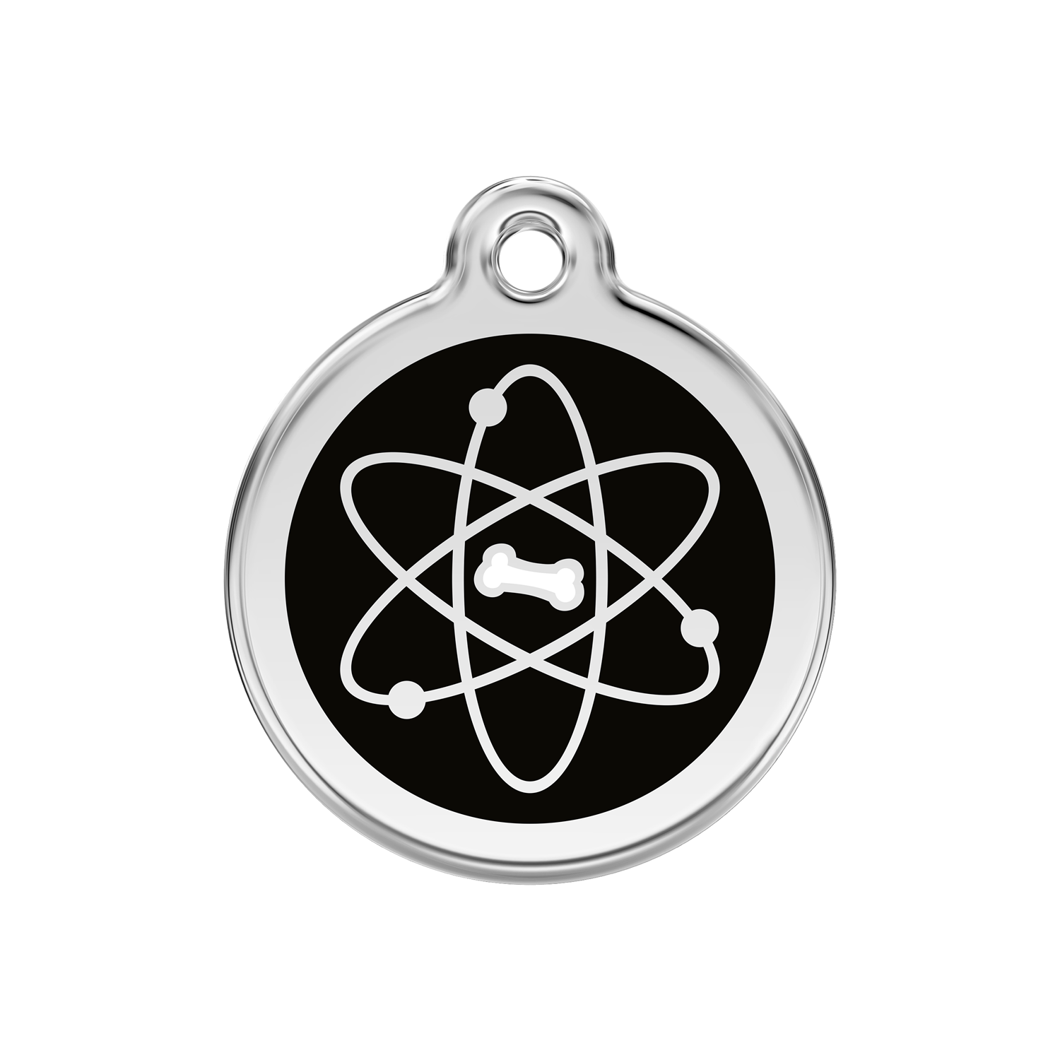 Black Atom Medium Enamel & Stainless Steel Tag>