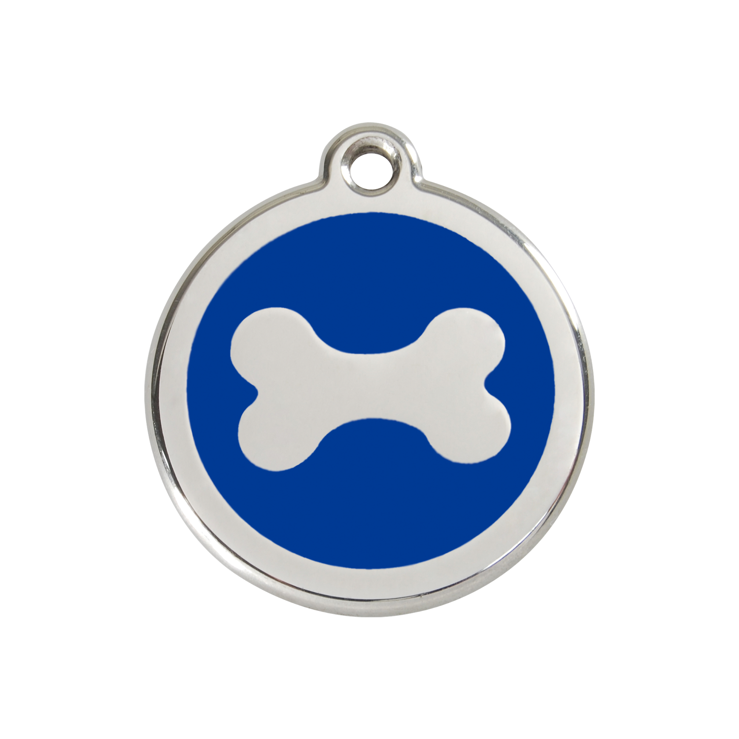 Dark Blue Bone Medium Enamel & Stainless Steel Tag>