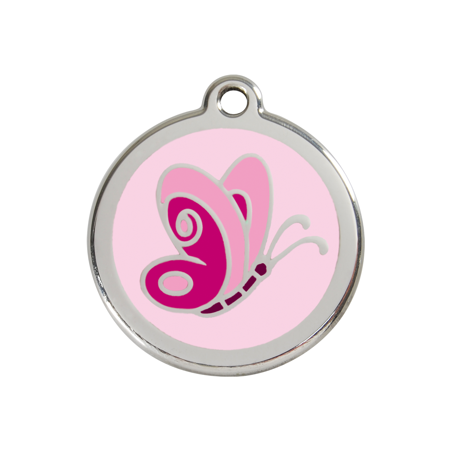 Pink Butterfly Medium Enamel & Stainless Steel Tag>