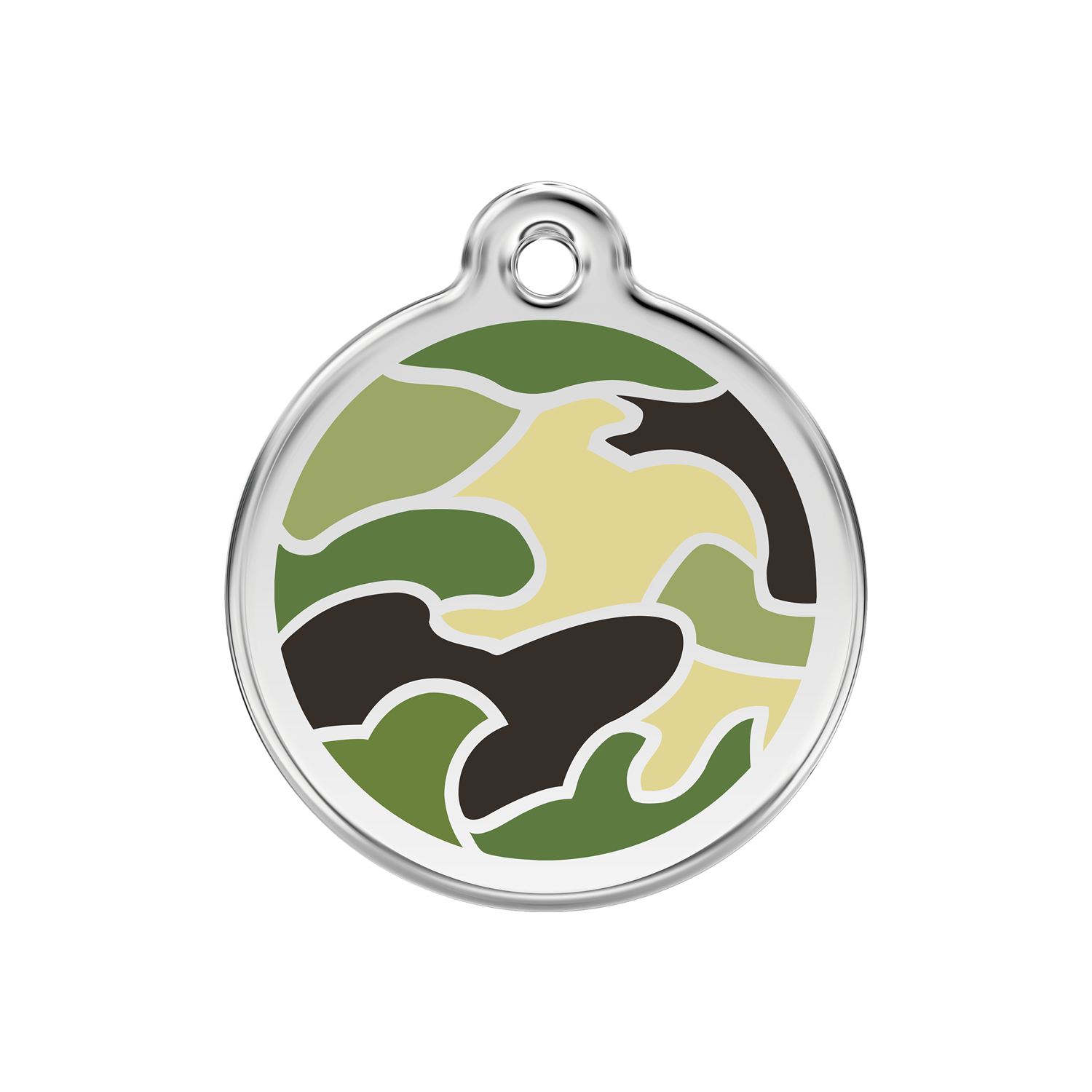 Green Camouflage Medium Enamel & Stainless Steel Tag>