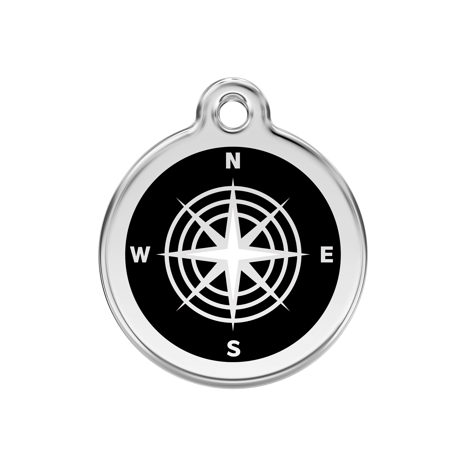 Black Compass Medium Enamel & Stainless Steel Tag>