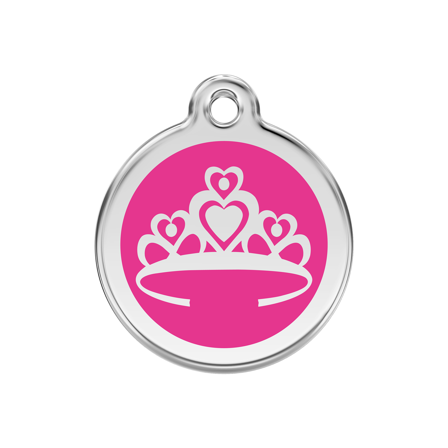 Hot Pink Crown Medium Enamel & Stainless Steel Tag>