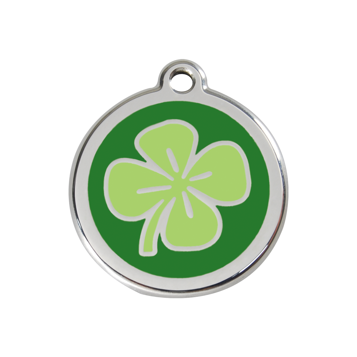 Green Clover Medium Enamel & Stainless Steel Tag>