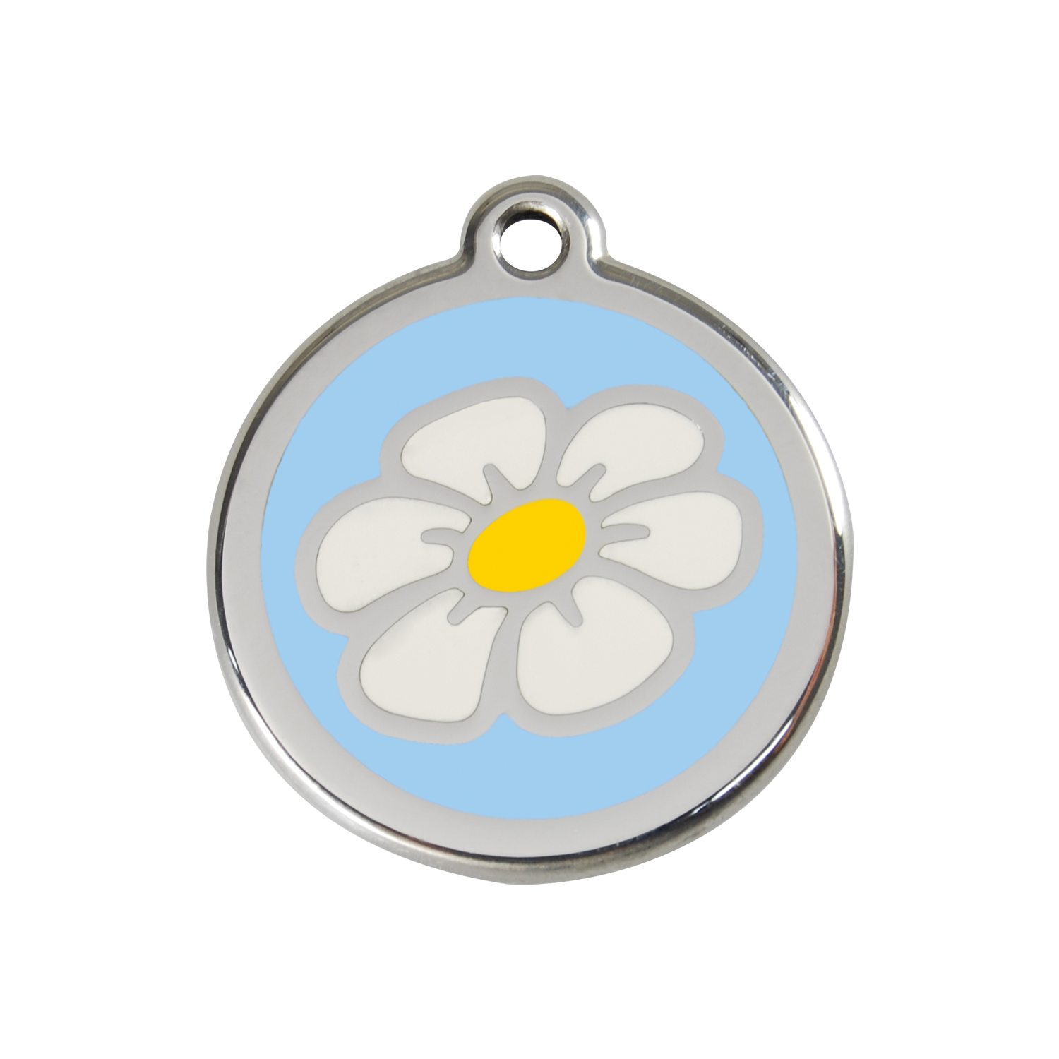 Light Blue Daisy Medium Enamel & Stainless Steel Tag>