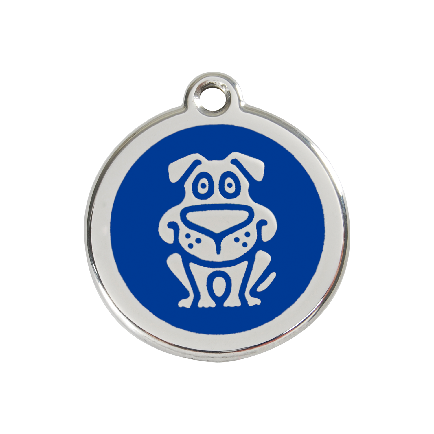 Dark Blue Dog Medium Enamel & Stainless Steel Tag>
