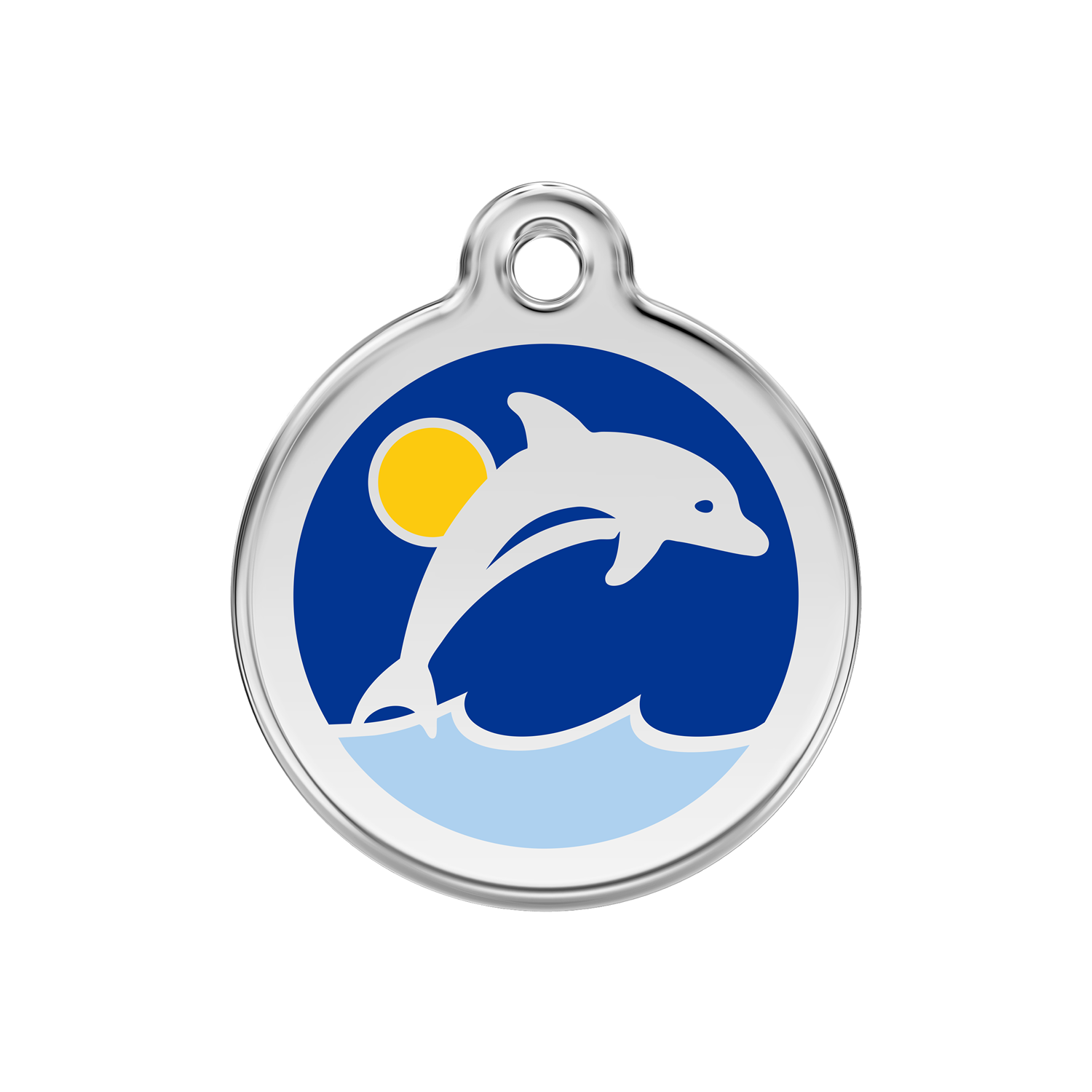 Dark Blue Dolphin Medium Enamel & Stainless Steel Tag>