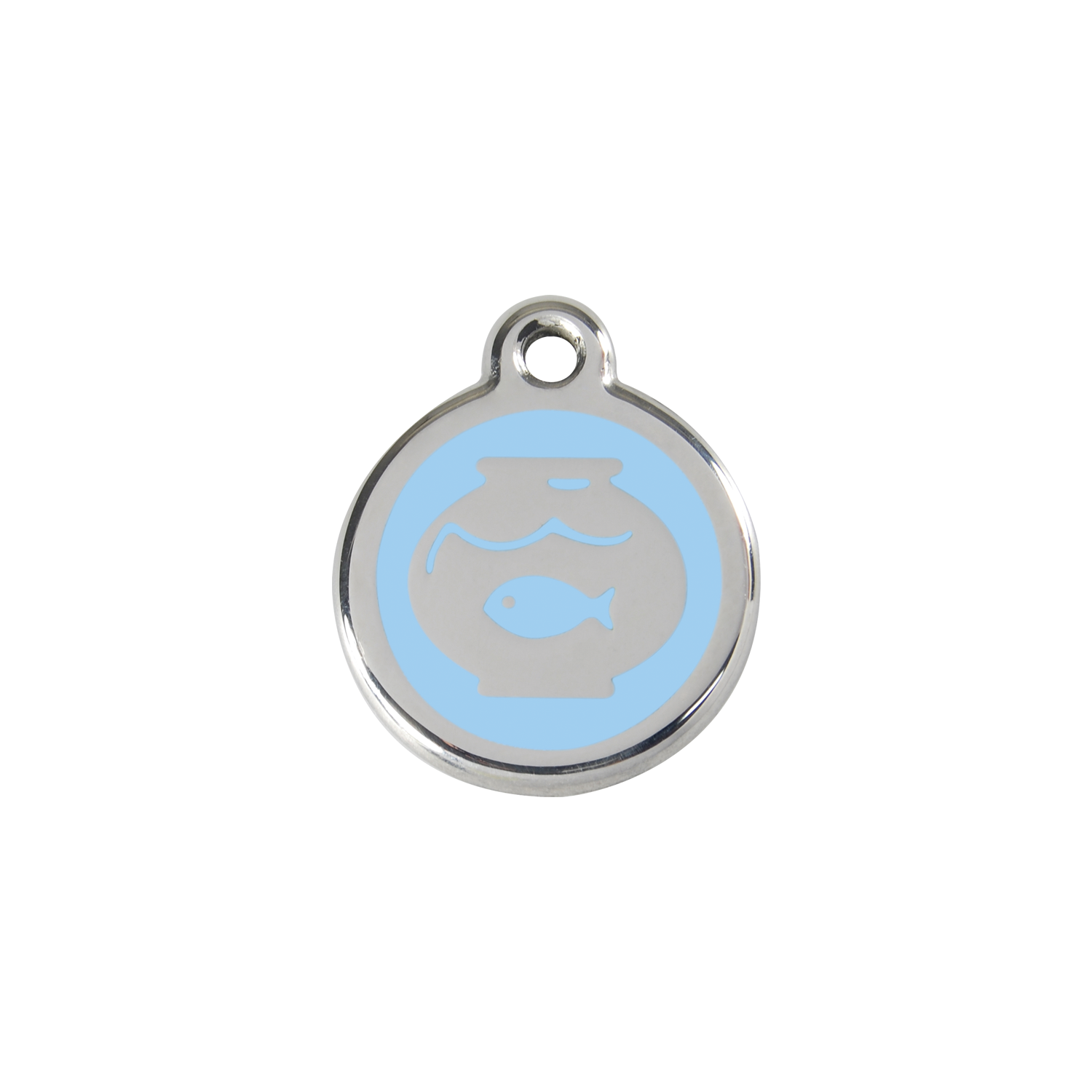 Light Blue Fish Bowl Small Enamel & Stainless Steel Tag>