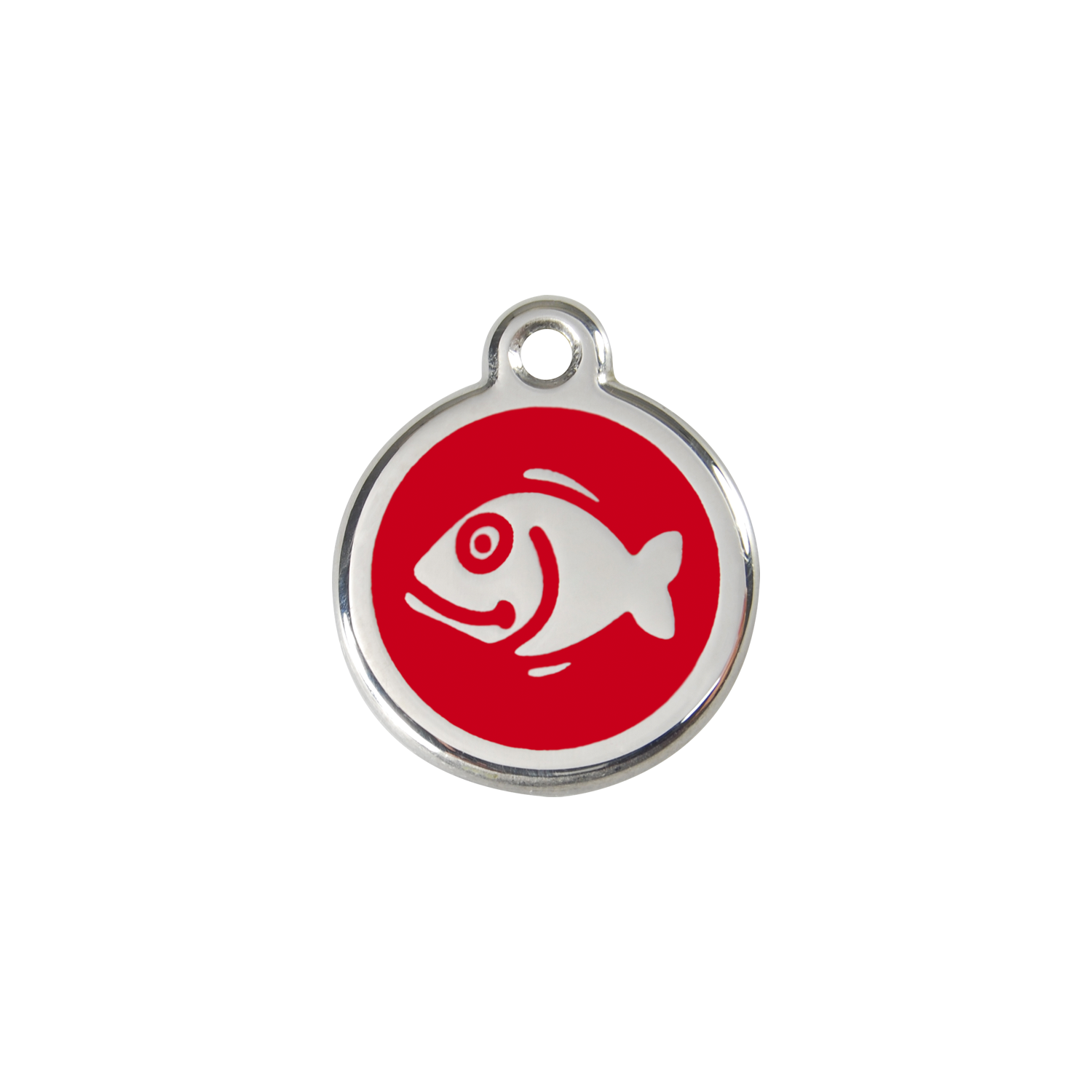 Red Fish Small Enamel & Stainless Steel Tag>
