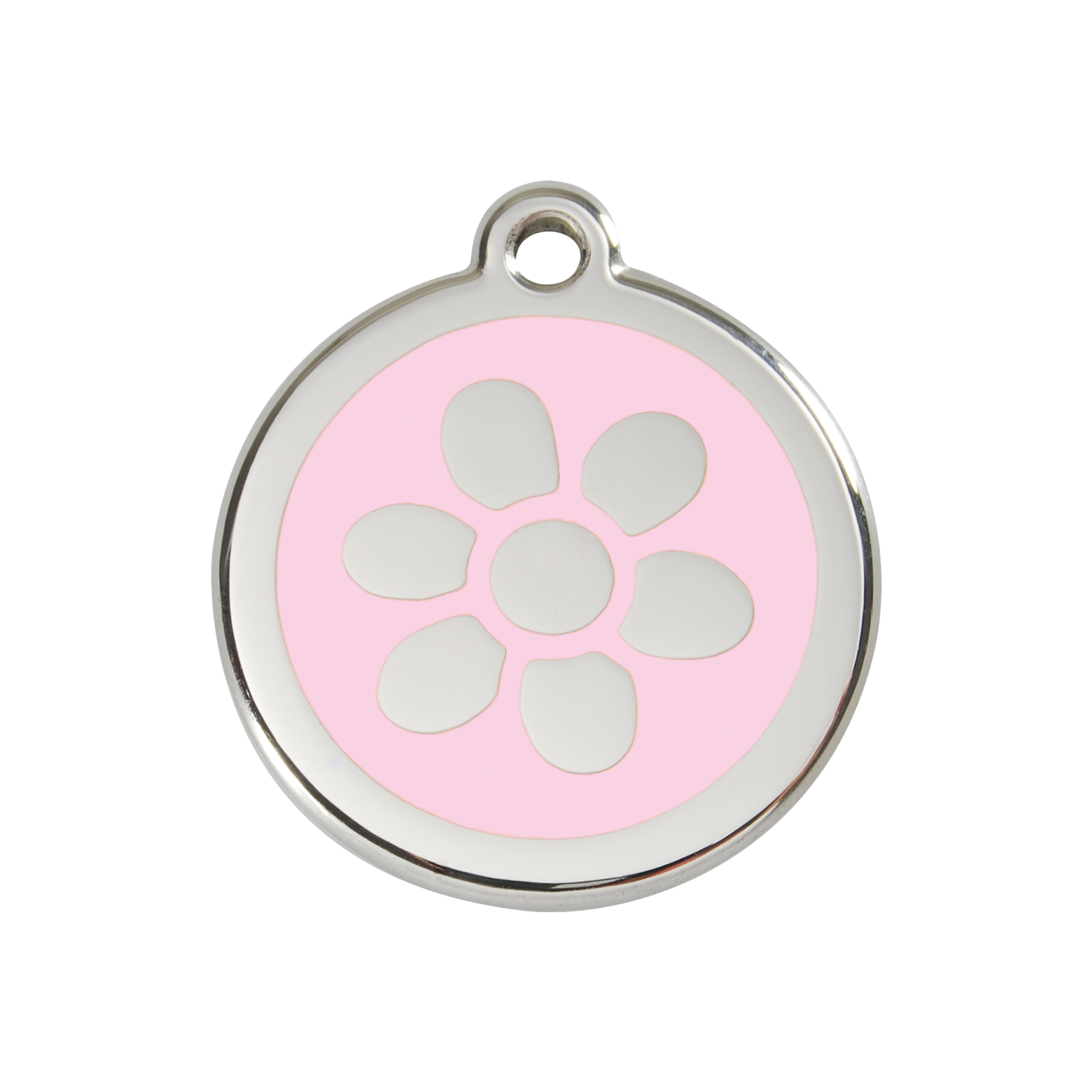 Pink Flower Medium Enamel & Stainless Steel Tag>