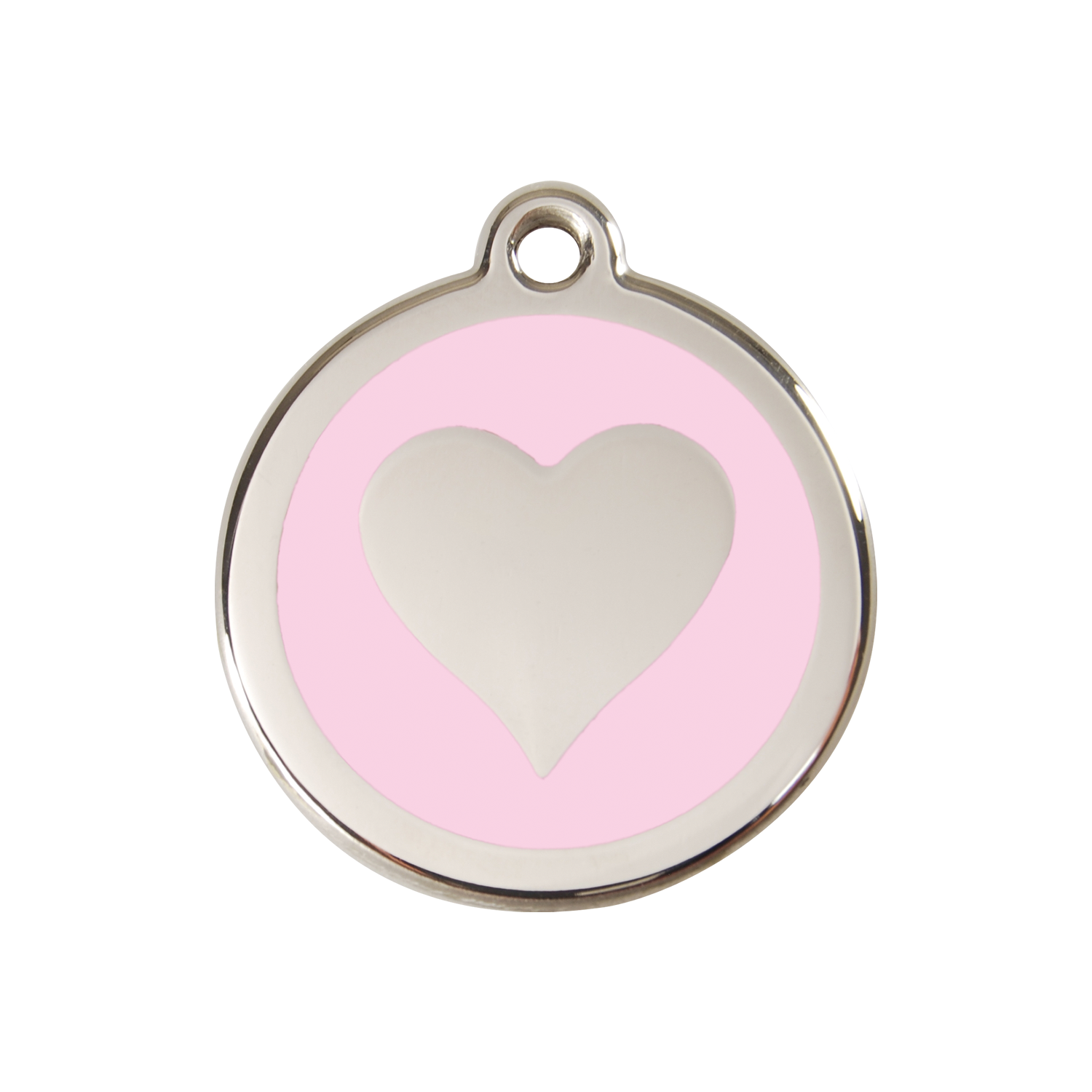 Pink Heart Medium Enamel & Stainless Steel Tag>