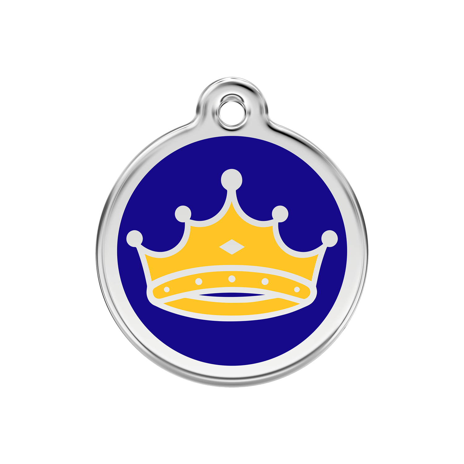 Dark Blue King Medium Enamel & Stainless Steel Tag>