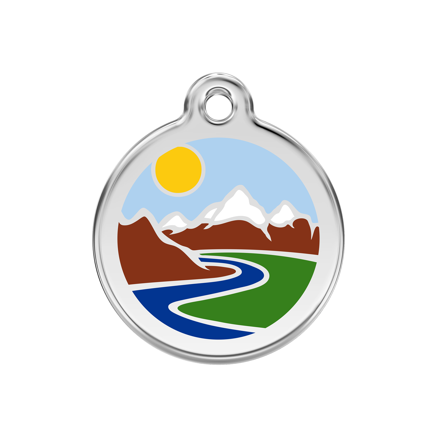 Light Blue Mountains Medium Enamel & Stainless Steel Tag>