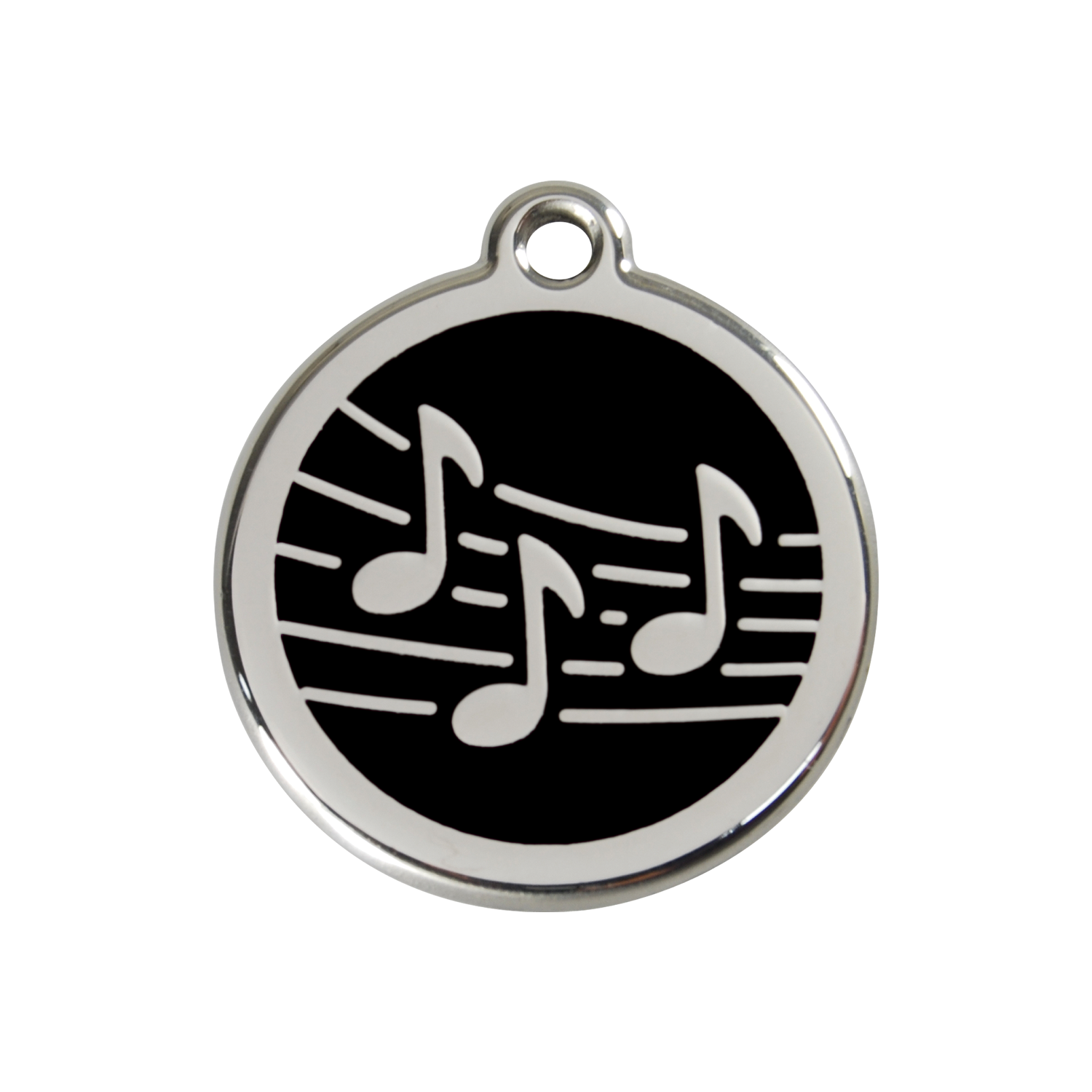 Black Music Medium Enamel & Stainless Steel Tag>