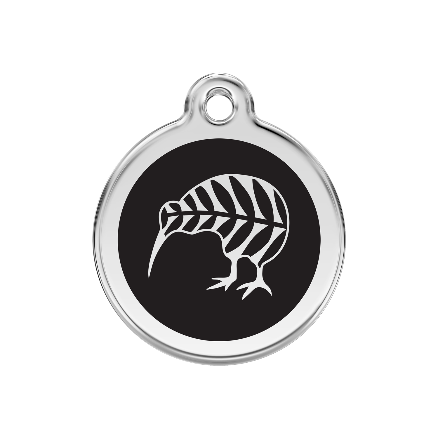 Black Kiwi Medium Enamel & Stainless Steel Tag>