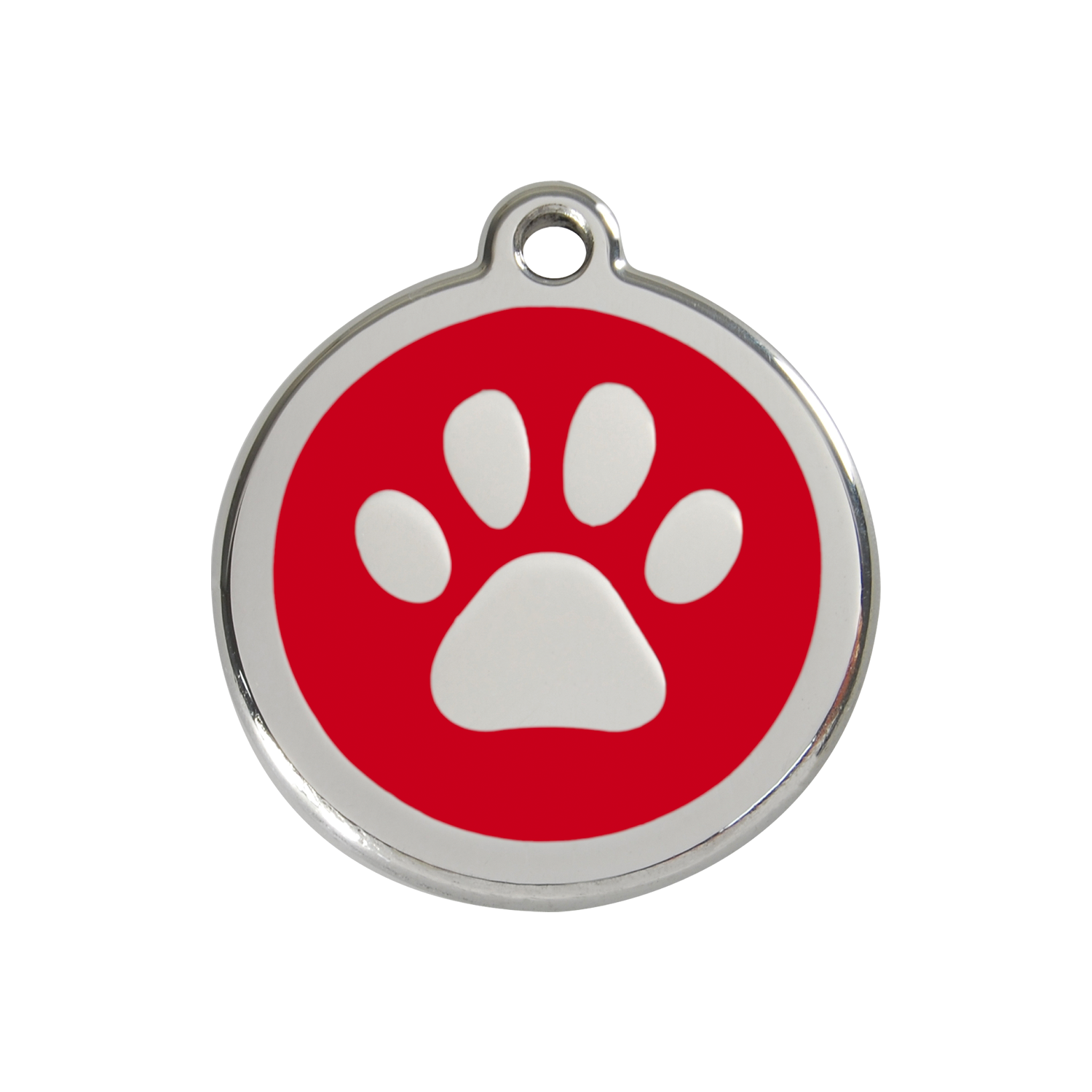 Red Paw Print Medium Enamel & Stainless Steel Tag>