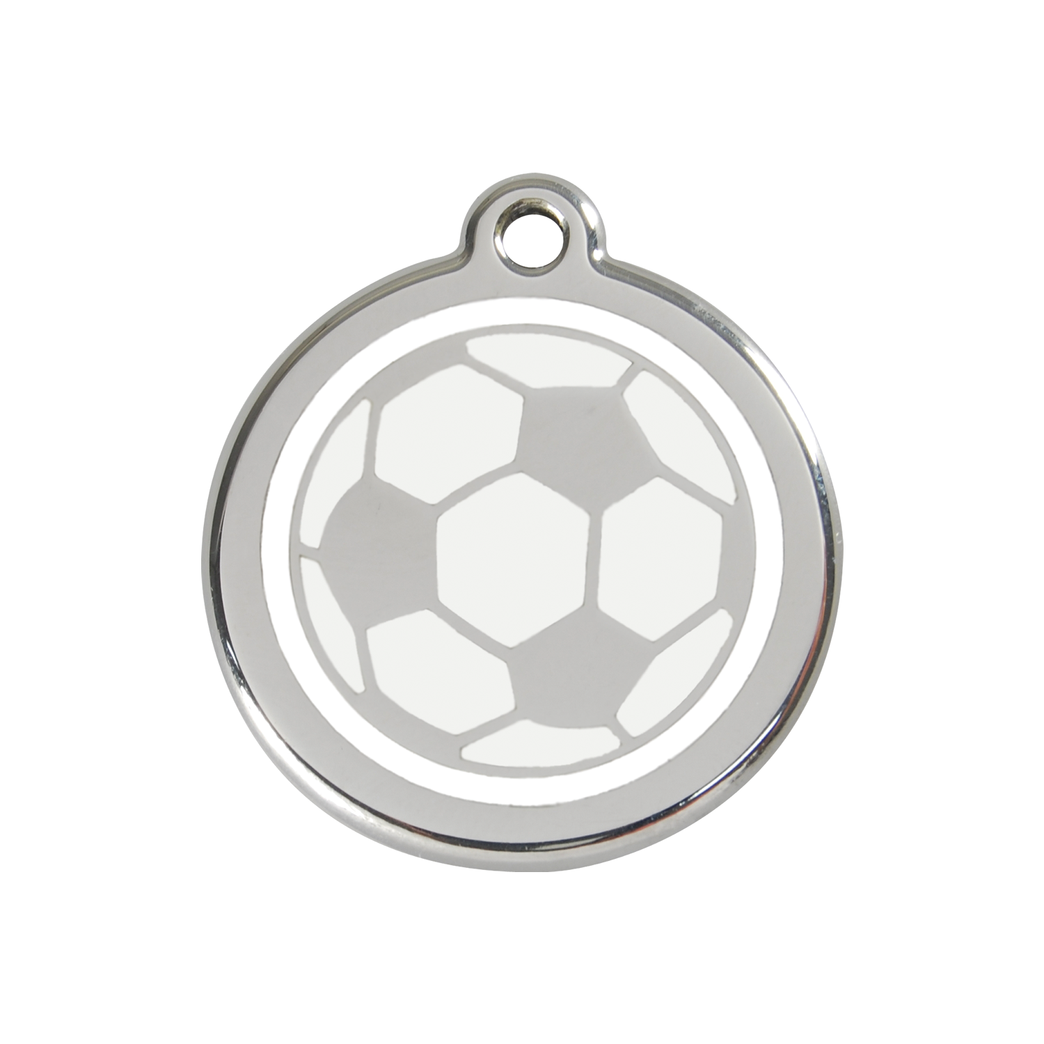 White Soccer Ball Medium Enamel & Stainless Steel Tag>