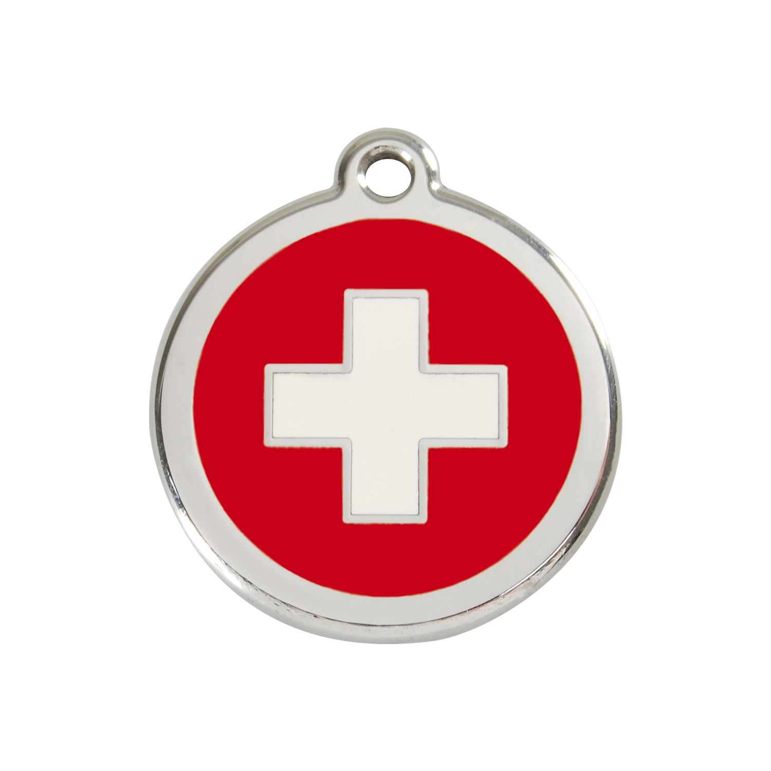 Red Swiss Cross Medium Enamel & Stainless Steel Tag>