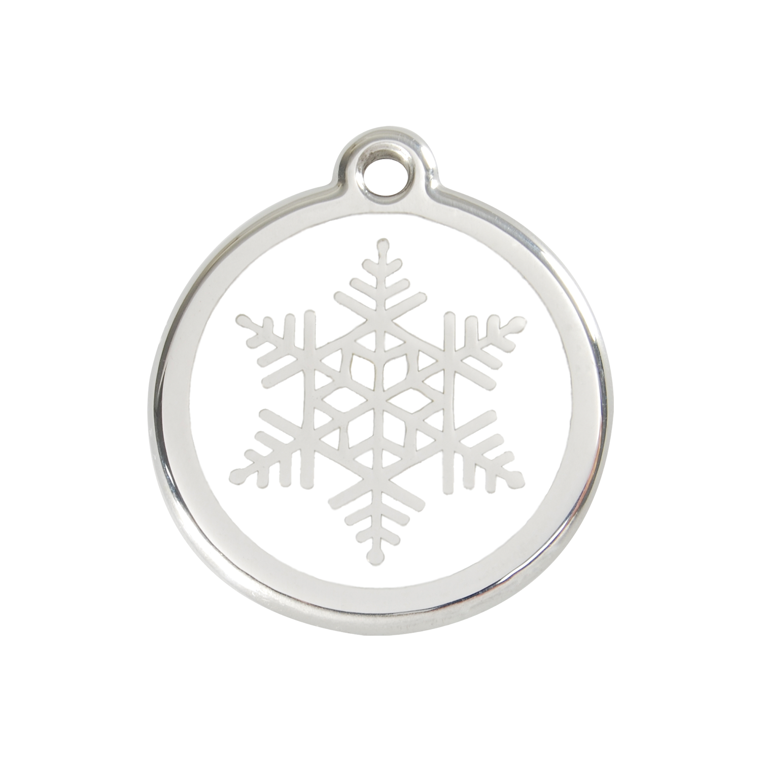 White Snowflake Medium Enamel & Stainless Steel Tag>