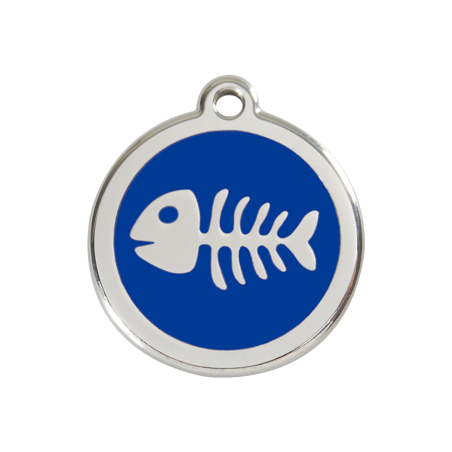 Dark Blue Fish Bone Medium Enamel & Stainless Steel Tag>