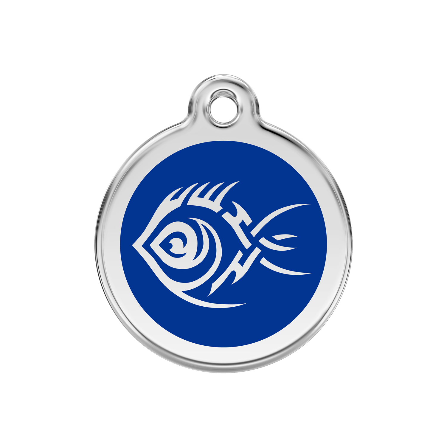 Dark Blue Tribal Fish Medium Enamel & Stainless Steel Tag>