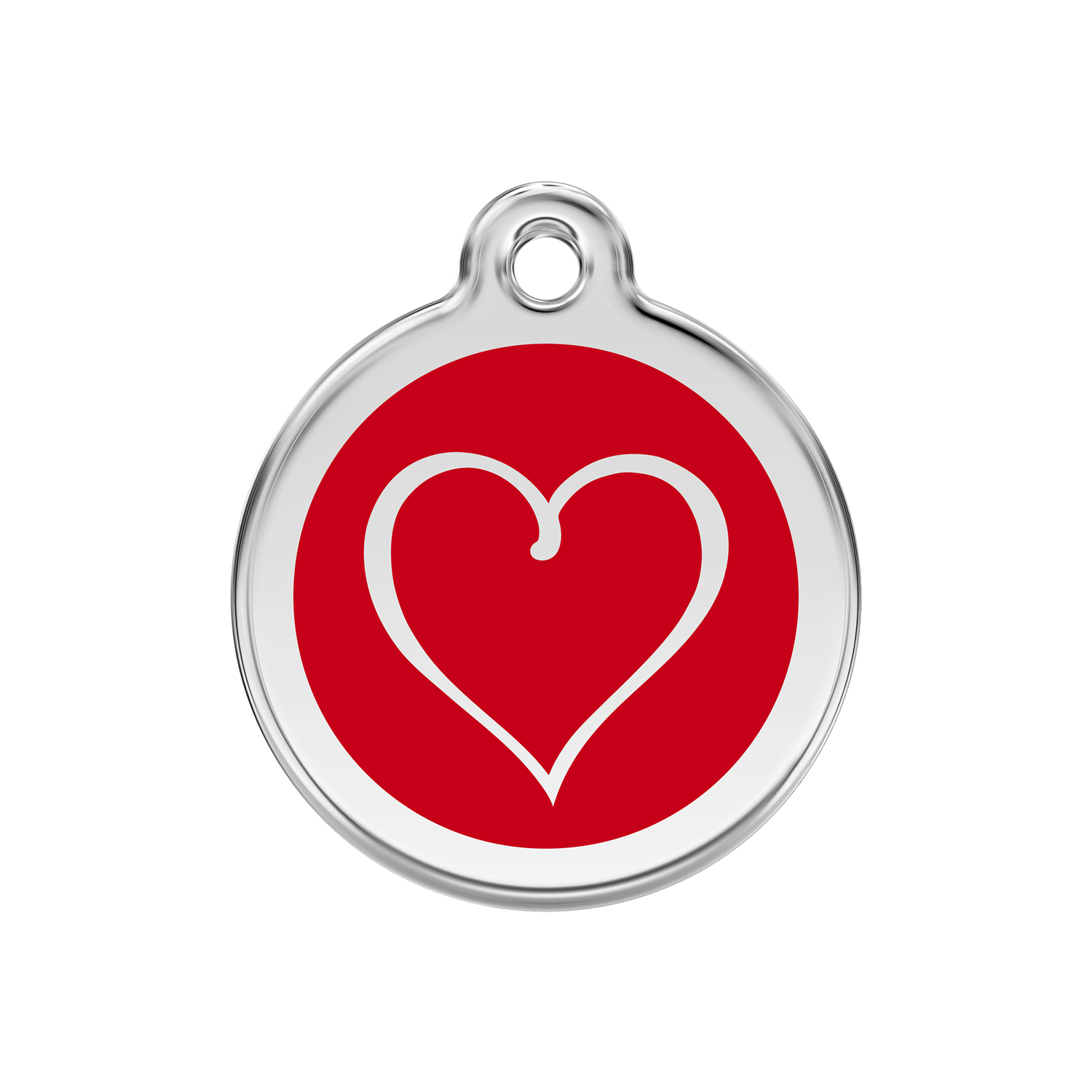 Red Tribal Heart Medium Enamel & Stainless Steel Tag>