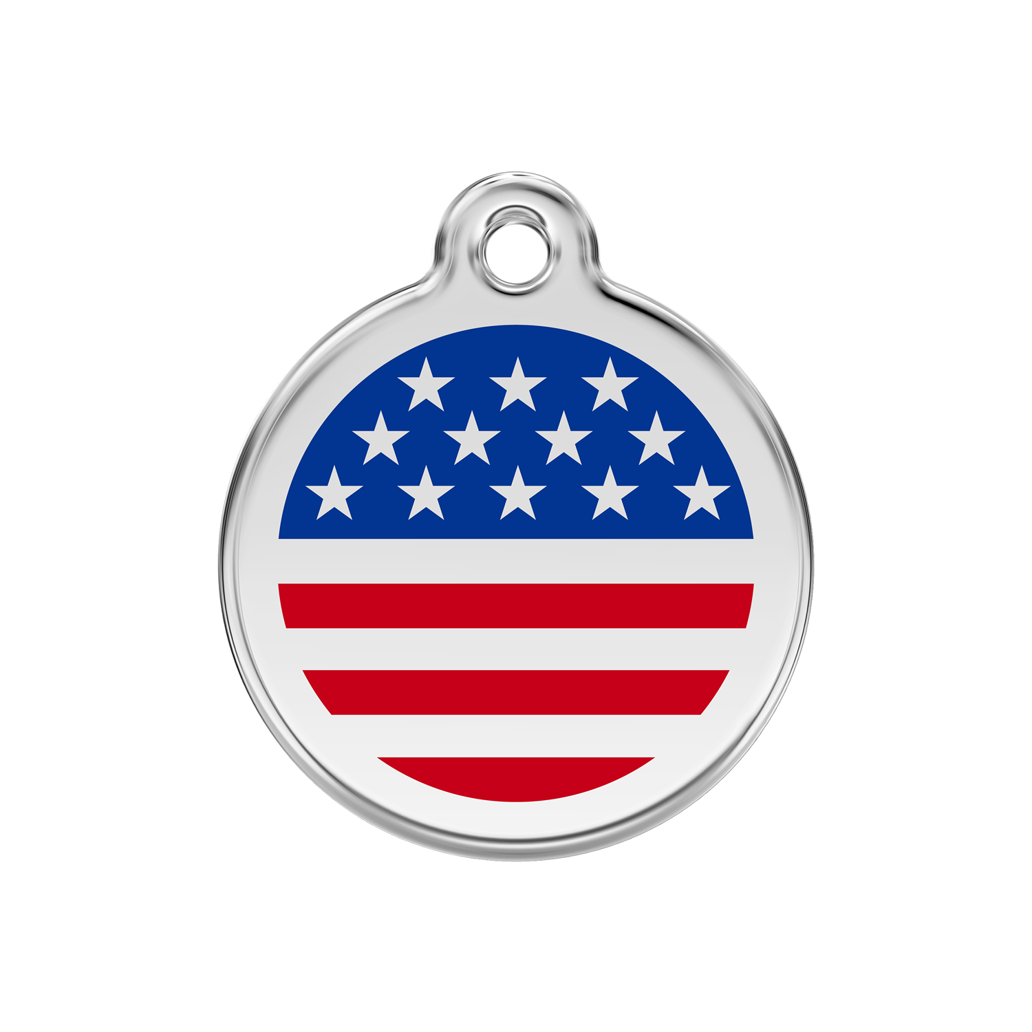 US Flag Medium Enamel & Stainless Steel Tag>
