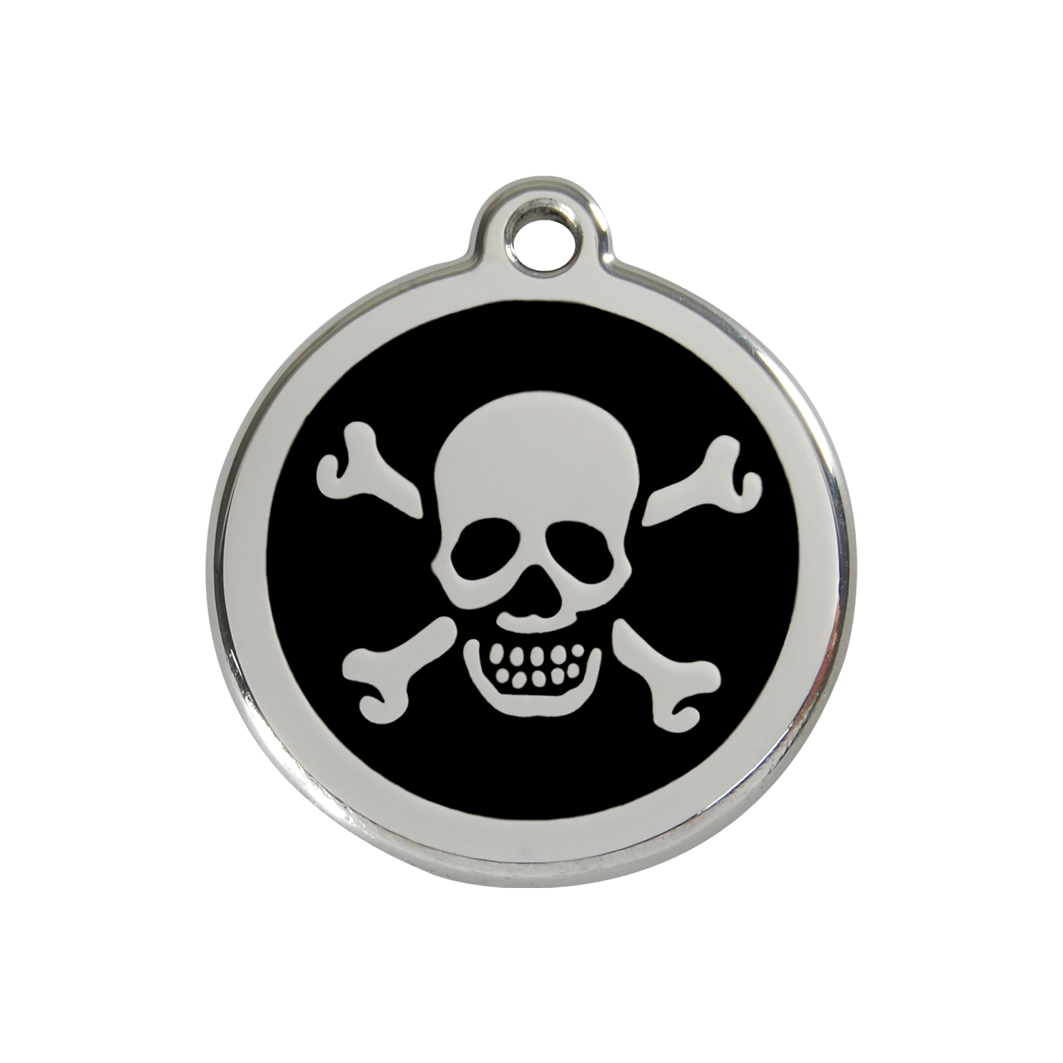 Black Skull & Cross Bones Medium Enamel & Stainless Steel Tag>
