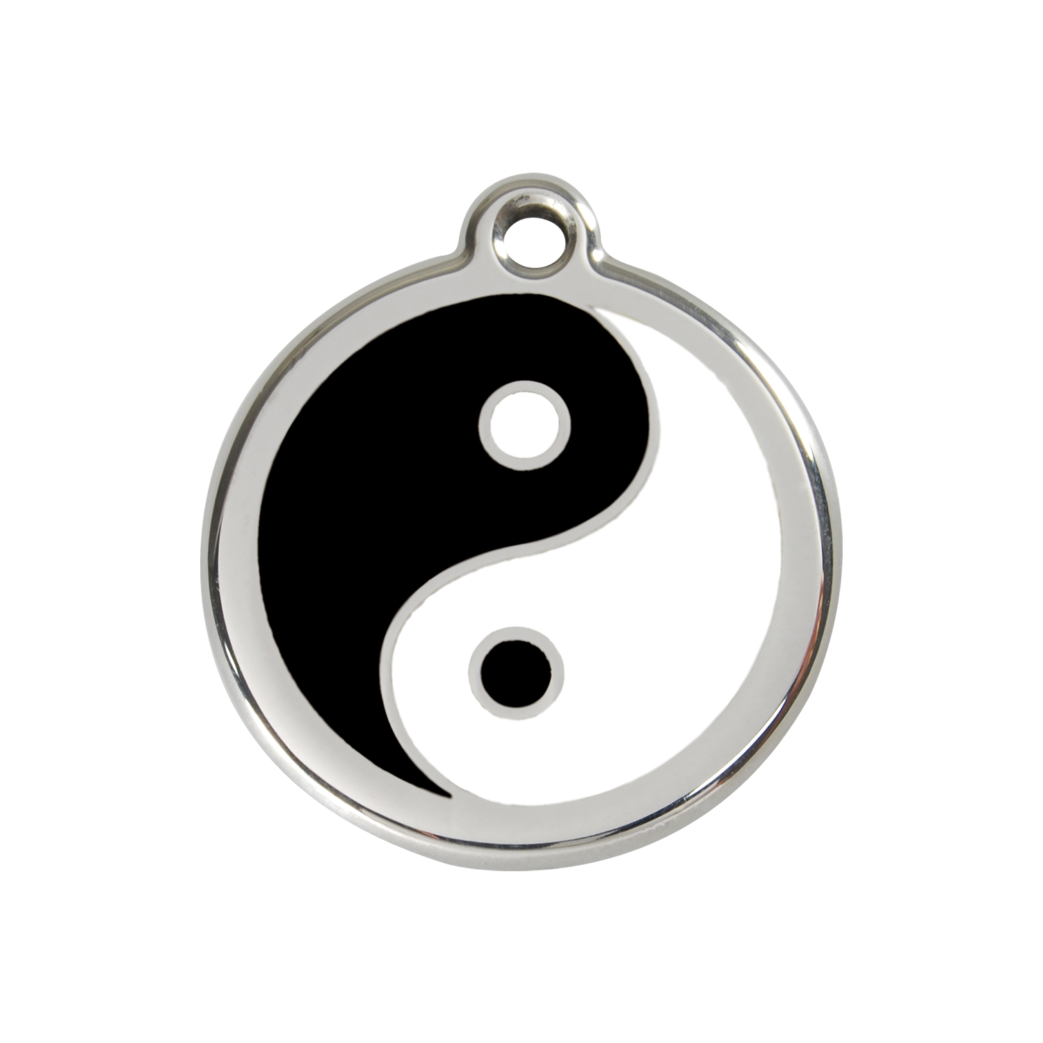 Yin & Yang Medium Enamel & Stainless Steel Tag>