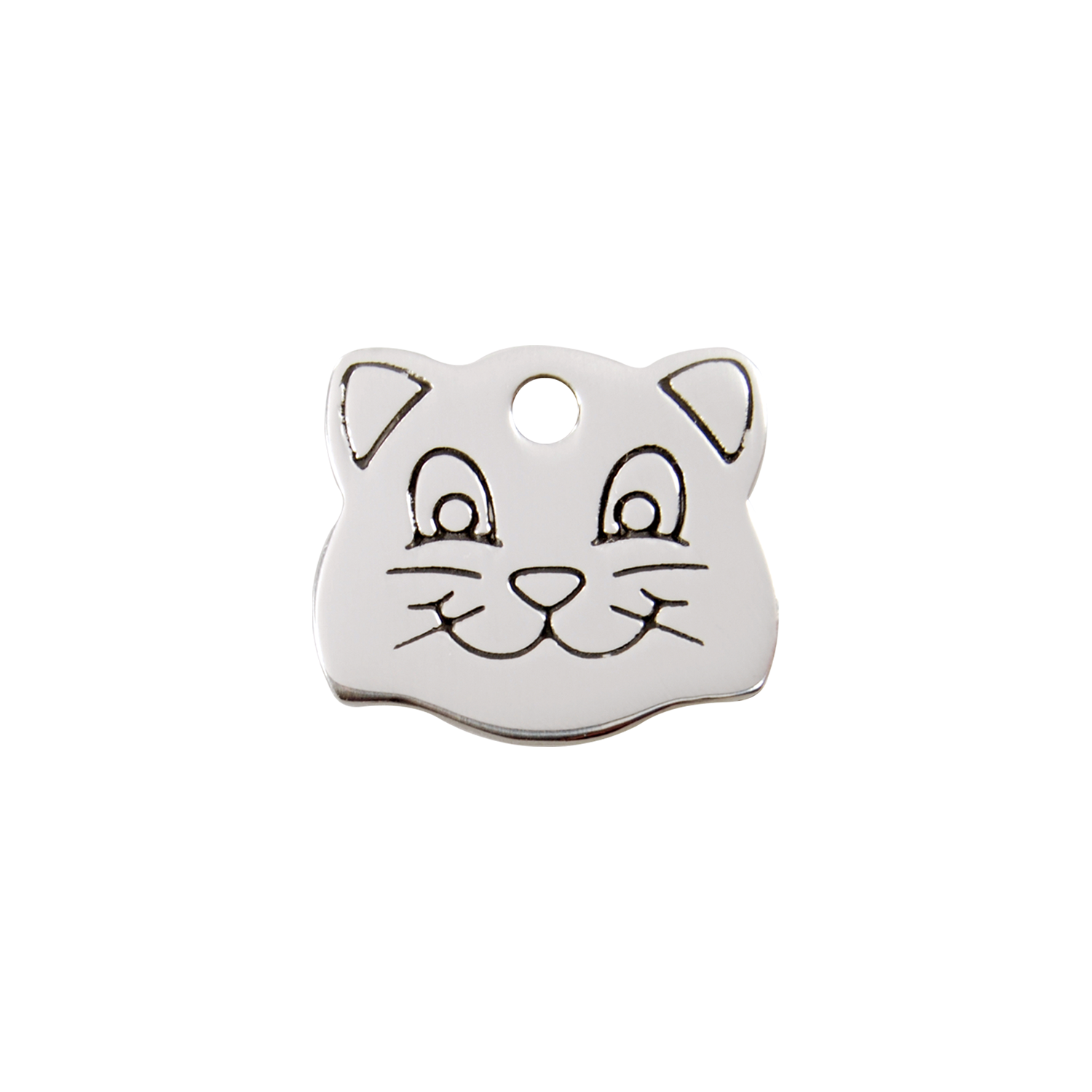 Cat Face Small Flat Stainless Steel Tag>