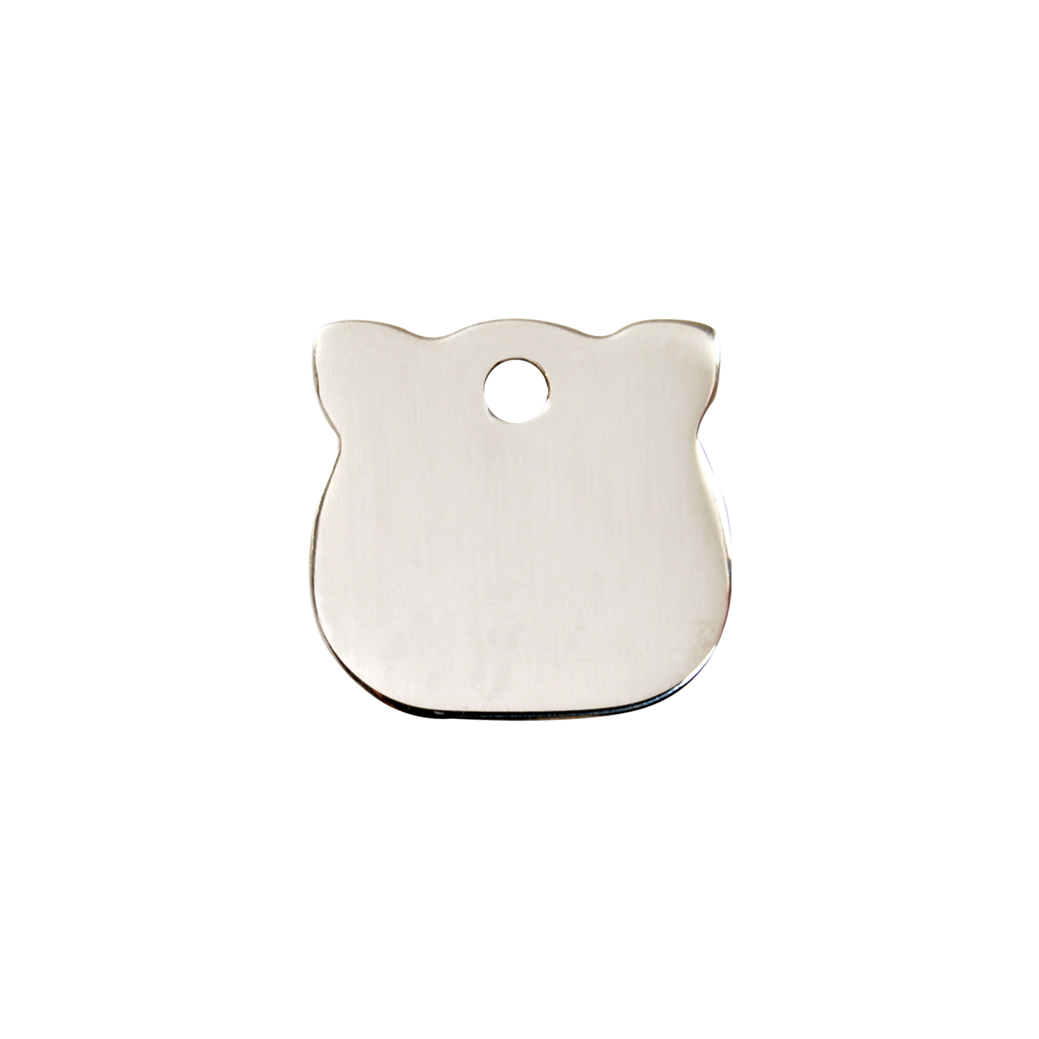 Cat Head Small Flat Stainless Steel Tag>