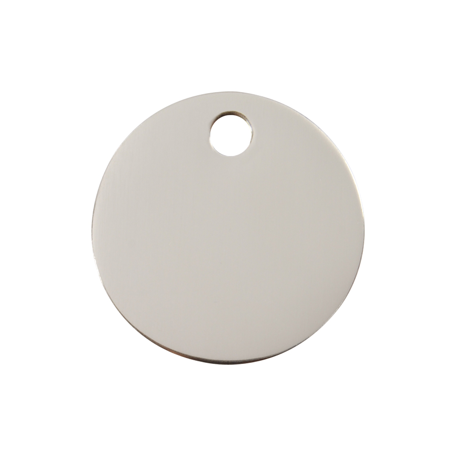 Circle Medium Flat Stainless Steel Tag>
