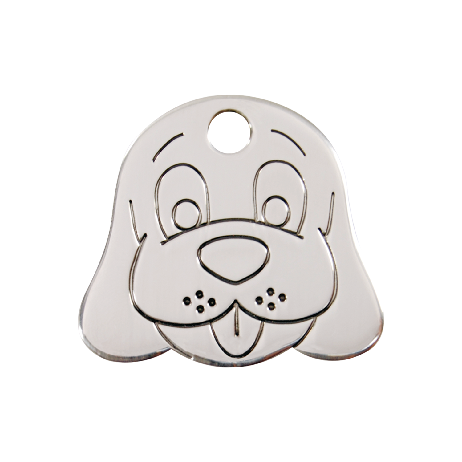 Dog Face Medium Flat Stainless Steel Tag>