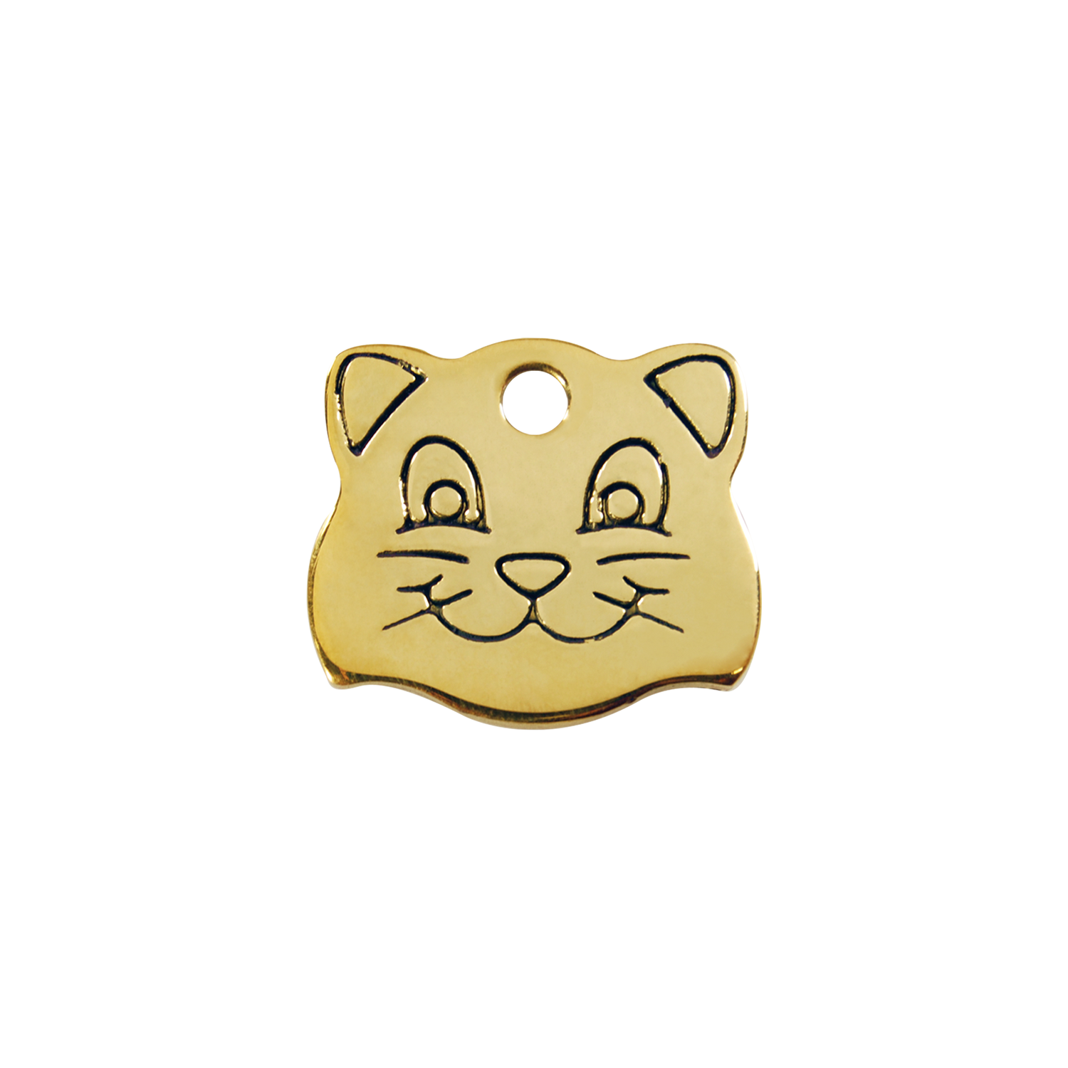 Cat Face Small Flat Brass Tag>
