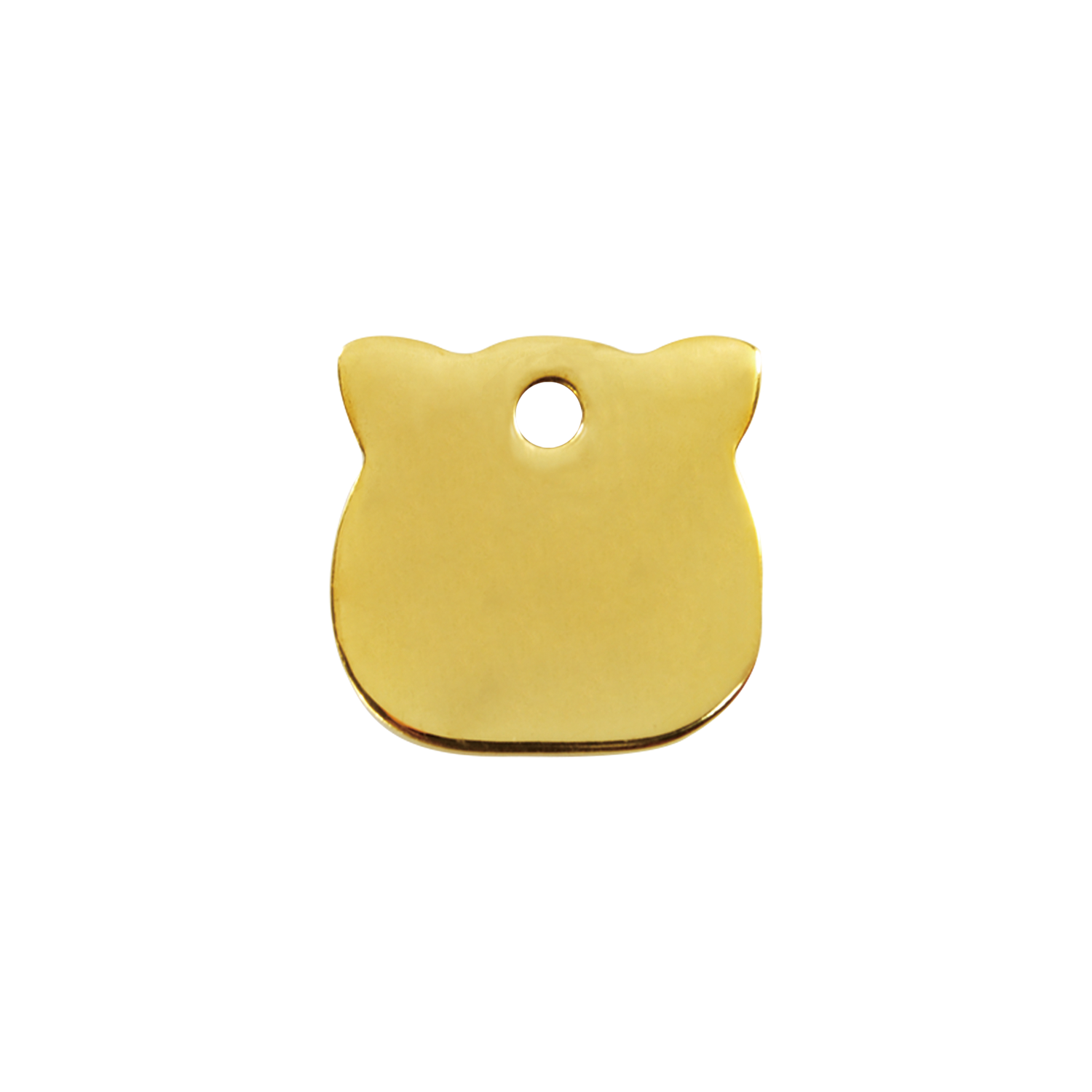 Cat Head Small Flat Brass Tag>