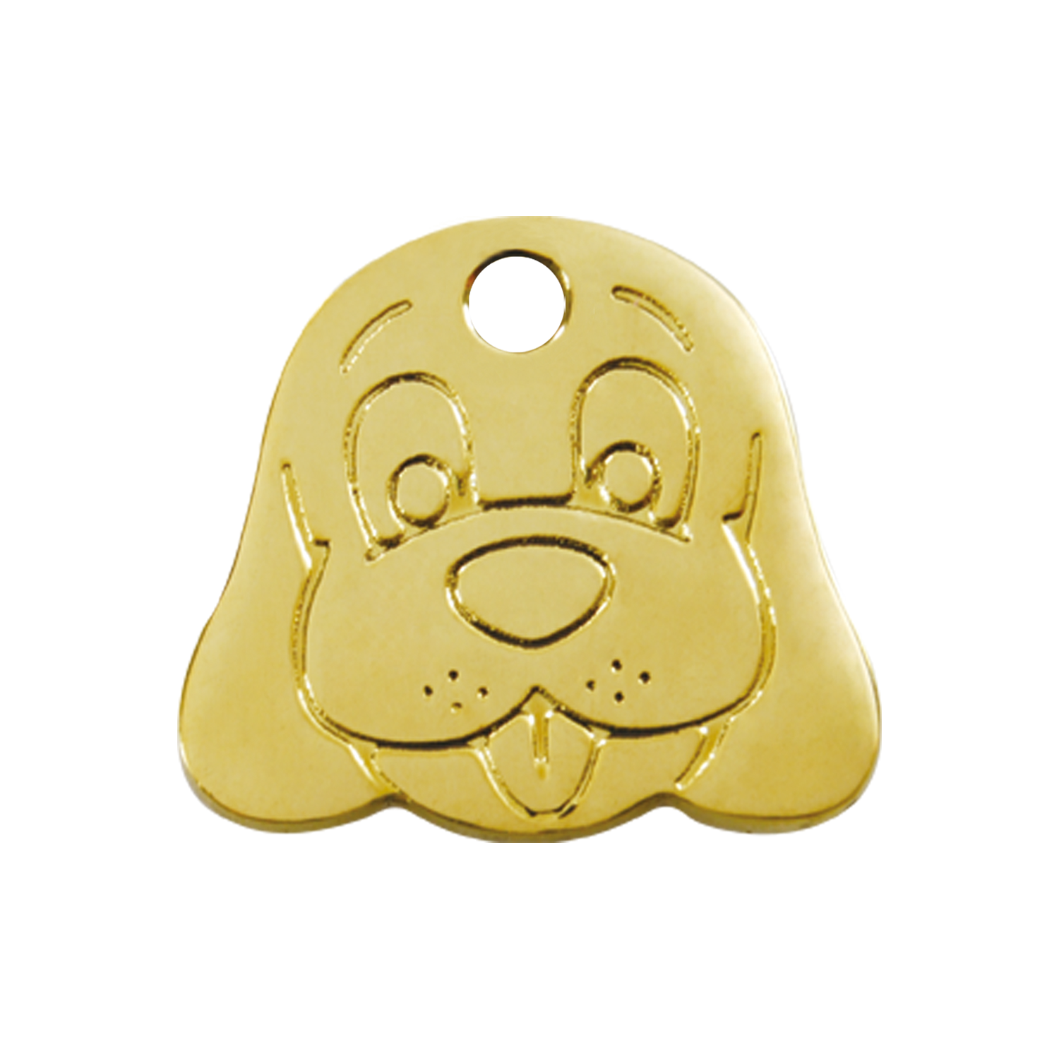 Dog Face Medium Flat Brass Tag>