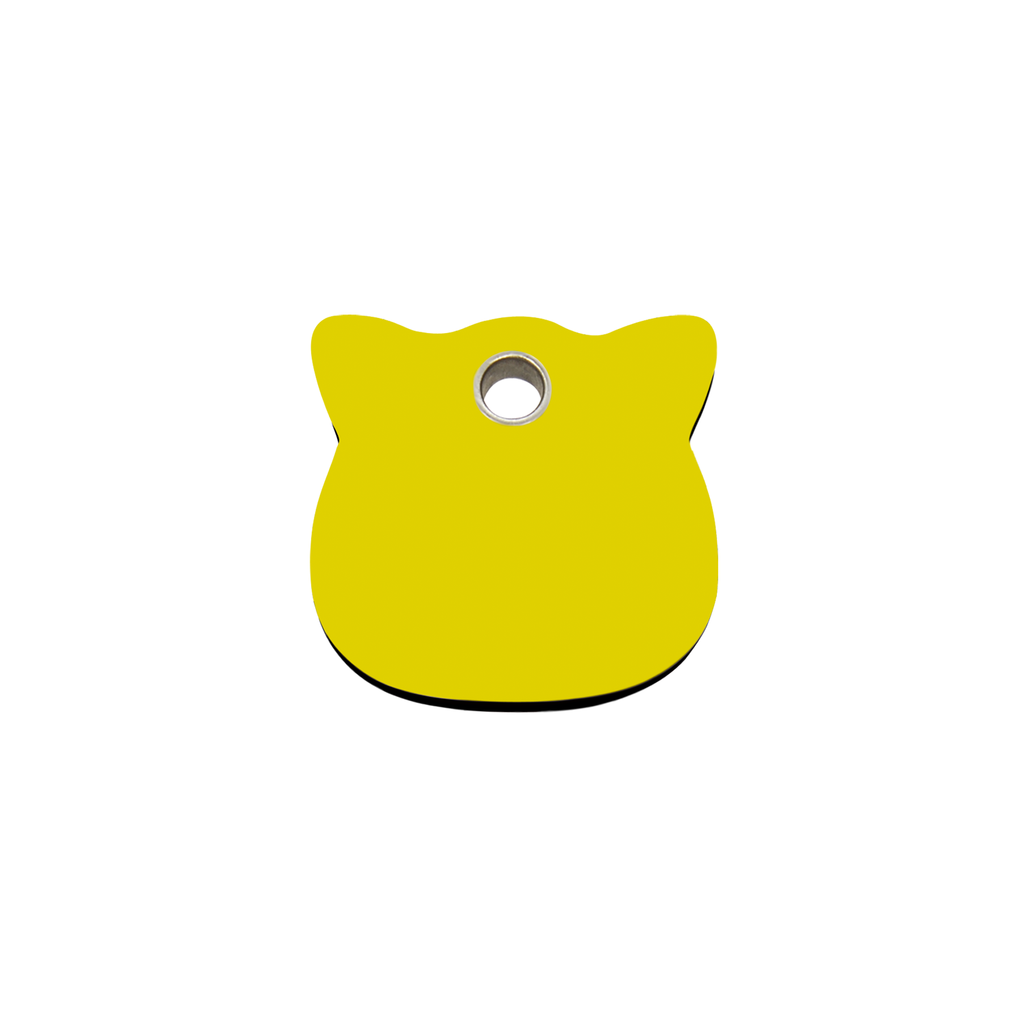 Yellow Cat Head Small Flat Plastic Tag>