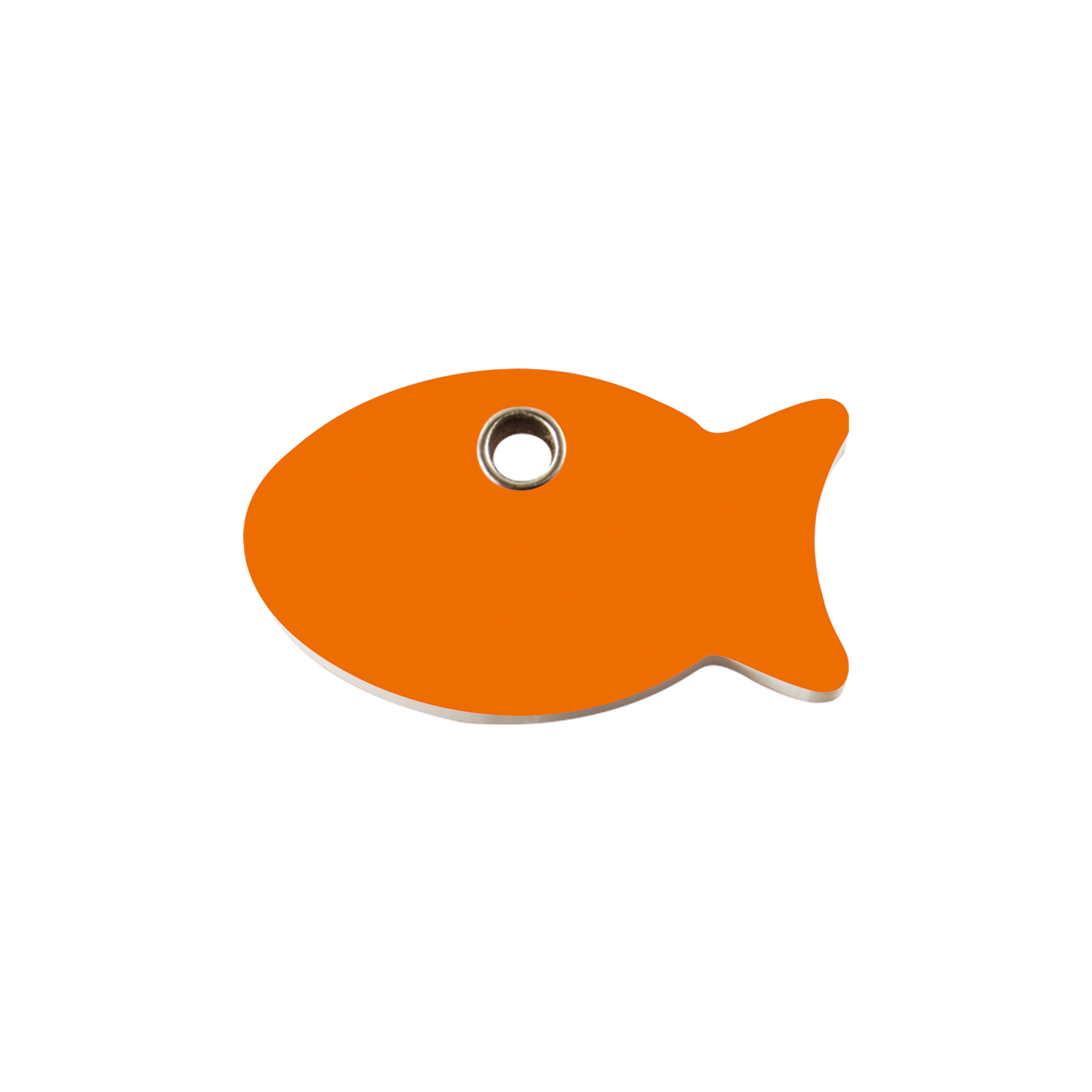 Orange Fish Small Flat Plastic Tag>