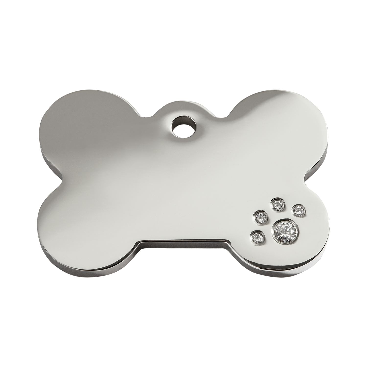 Bone Medium Diamante Polished Stainless Steel Tag>