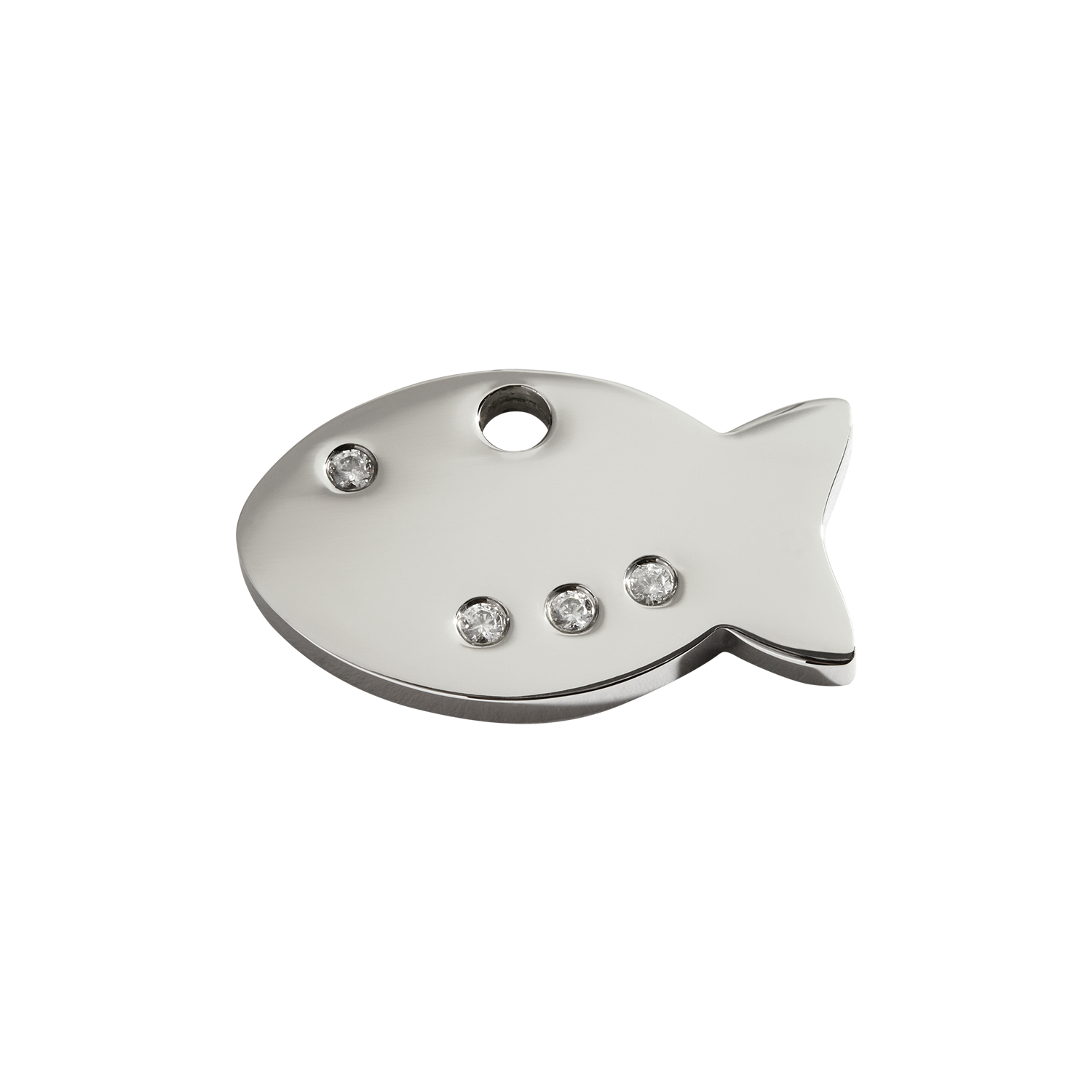 Fish Small Diamante Polished Stainless Steel Tag>