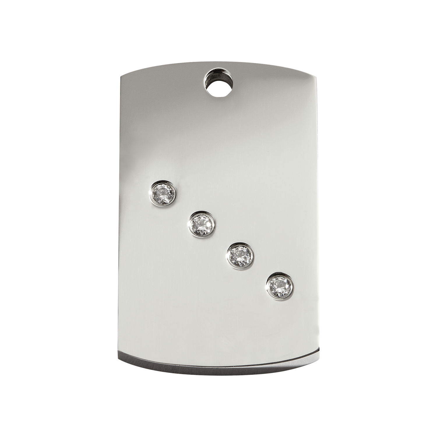 Rectangular Medium Diamante Polished Stainless Steel Tag>