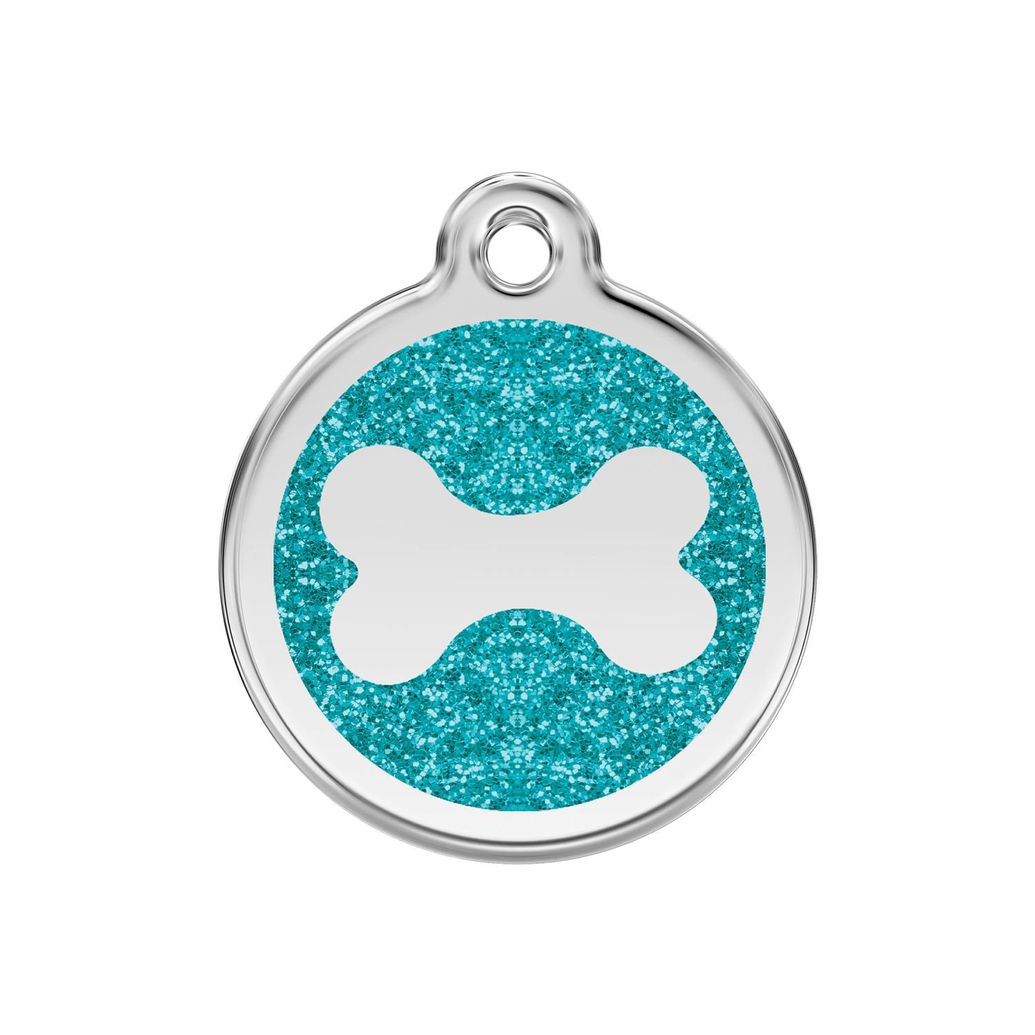 Aqua Bone Medium Glitter Enamel & Stainless Steel Tag>