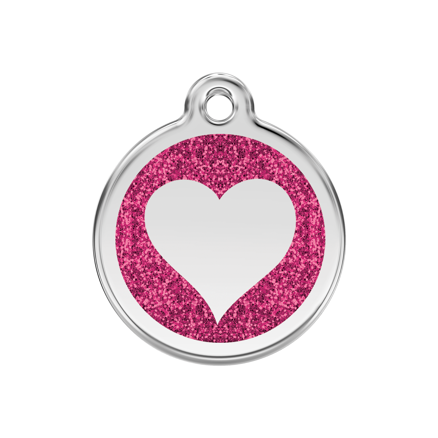 Hot Pink Heart Medium Glitter Enamel & Stainless Steel Tag>