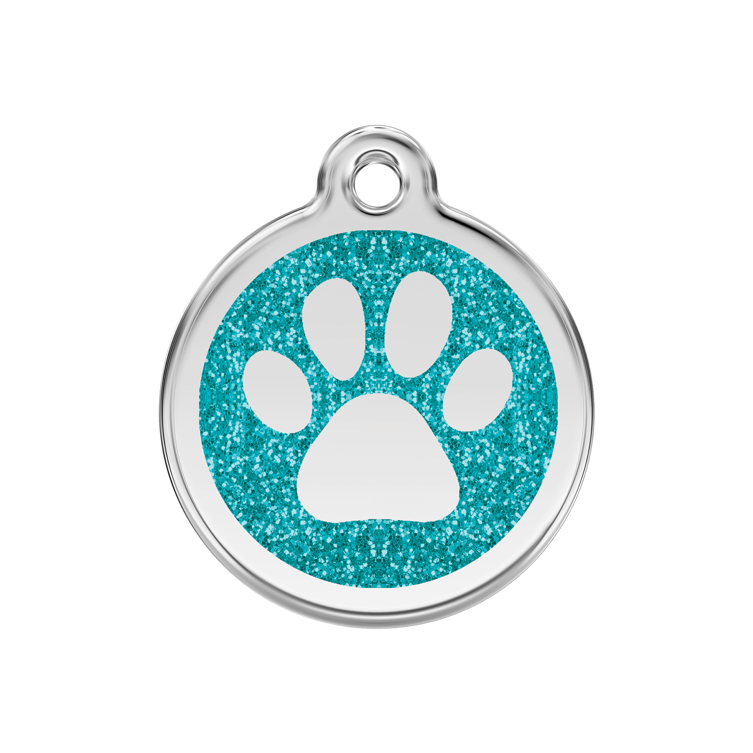 Aqua Paw Print Medium Glitter Enamel & Stainless Steel Tag>