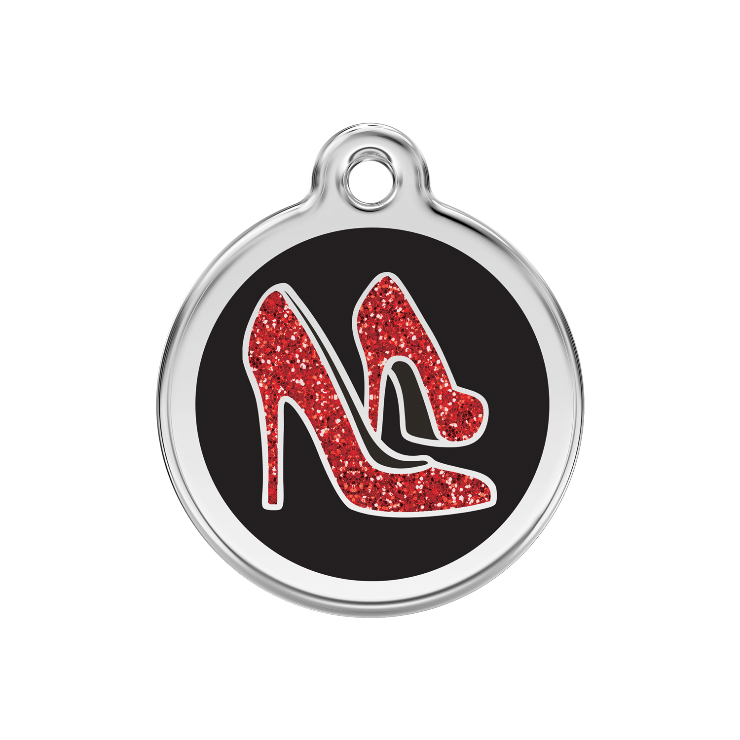 Black Red Shoe Medium Glitter Enamel & Stainless Steel Tag>